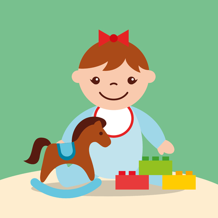 cute little girl rocking horse and blocks bricks toys vector illustration