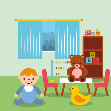 toddler boy in classroom  bear duck blocks toys vector illustration Stock Illustratie