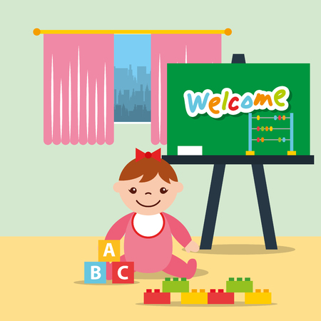 little girl classroom chalkboard and blocks alphabet vector illustration Illustration