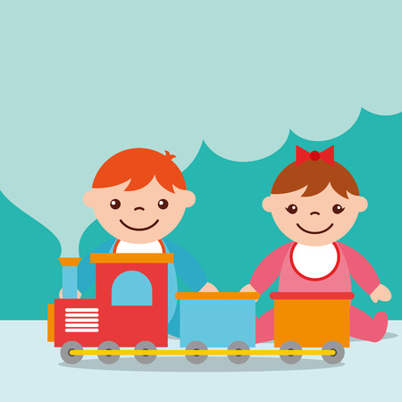 cute toddler boy and girl with train wagons toy vector illustration
