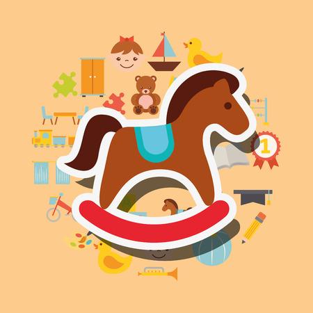 wooden rocking horse toys background vector illustration