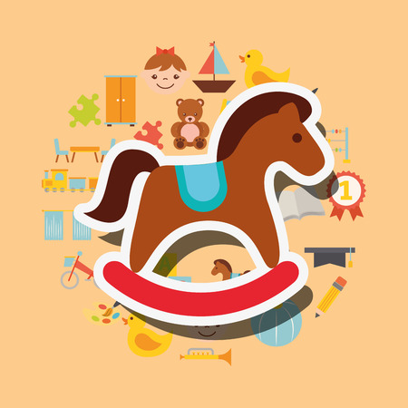 wooden rocking horse toys background vector illustration