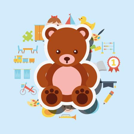 cute teddy bear toys background vector illustration