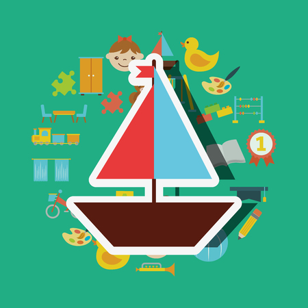 wooden saliboat small toys background vector illustration