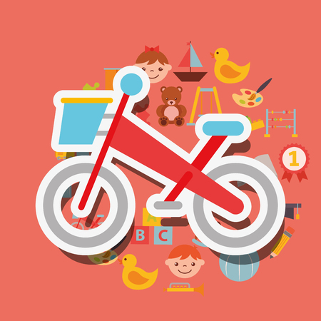 bike small sport toy background vector illustration