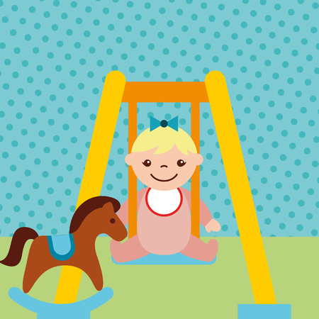 cute little girl on swing and rocking horse toys vector illustration