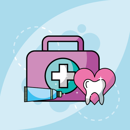 kit medical toothpaste and tooth vector illustration