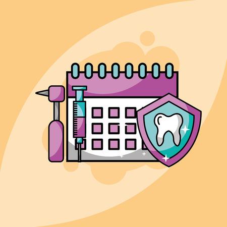 dentistry calendar syringe tooh dental drill vector illustration