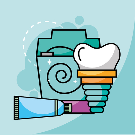 toothpaste floss and dental implant vector illustration Illustration