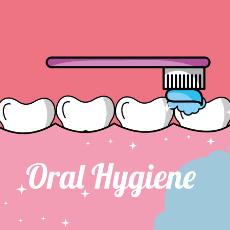 oral hygiene brushing tooth and gum inside mouth vector illustration