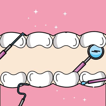 tooth and gum inside mouth tools oral hygiene vector illustration Иллюстрация