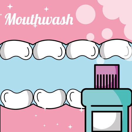 tooth and gum inside mouth mouthwash vector illustration