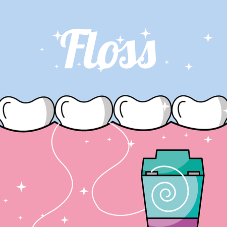 tooth and gum inside mouth dental floss vector illustration
