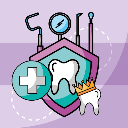 dental care tooth crown tools protection vector illustration