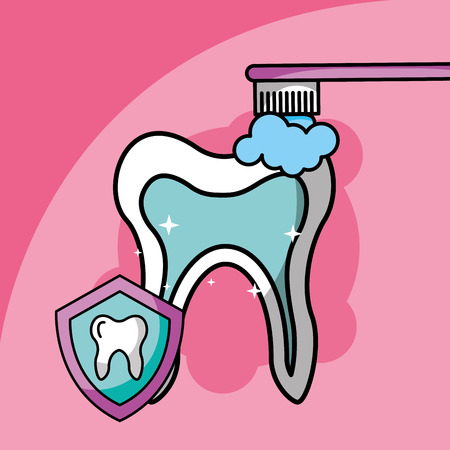 brushing tooth dental care symbol vector illustration