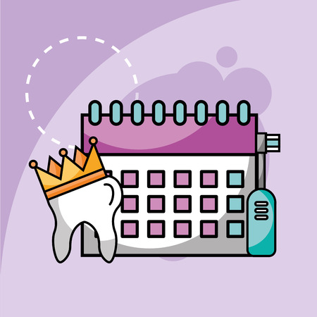 electric toothbrush tooth and calendar planning vector illustration
