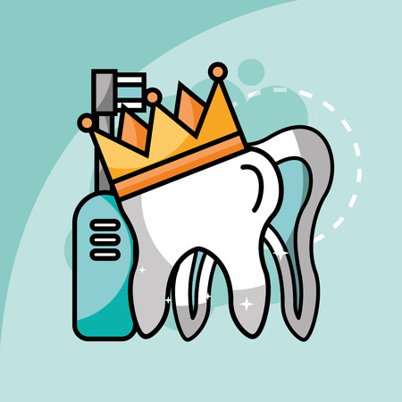 tooth in crown electric toothbrush vector illustration
