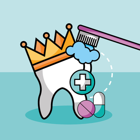 brushing tooth crown medicine pills and capsule vector illustration