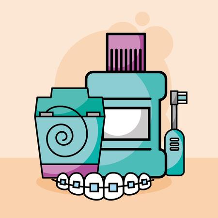 dental care floss mouthwash electric brush orthodontics vector illustration