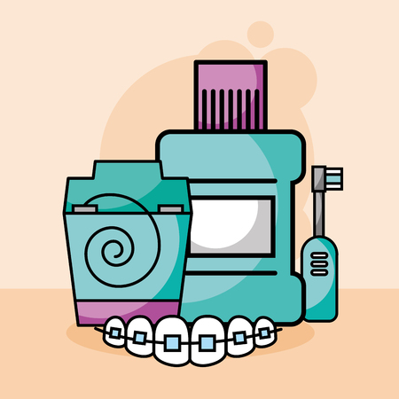 dental care floss mouthwash electric brush orthodontics vector illustration