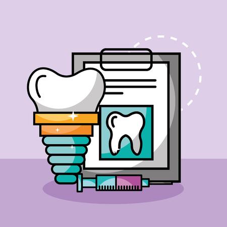 siringa dell'impianto di cure odontoiatriche e rapporto medico illustrazione vettoriale Vettoriali
