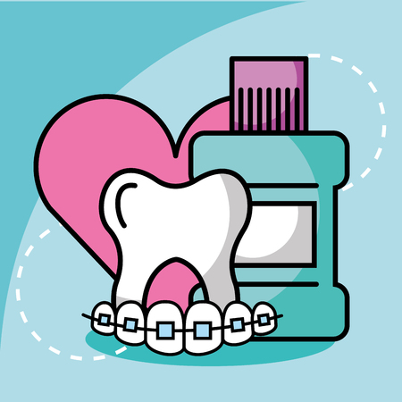 mouthwash tooth and orthodontics dentistry love vector illustration
