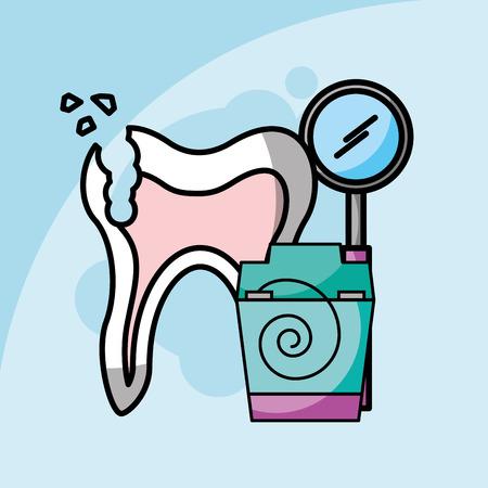 dental care broken tooth floss and tool dentistry vector illustration