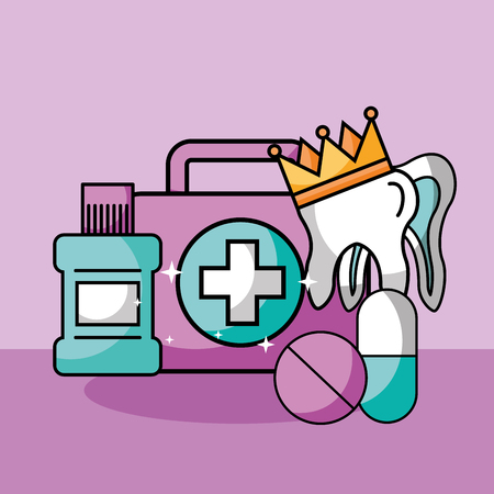 dental care kit mouthwash tooth crown medication vector illustration
