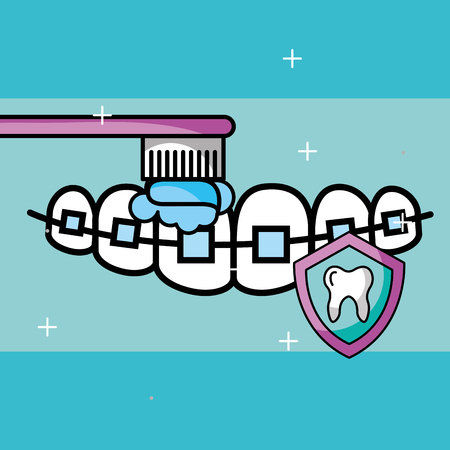 orthodontics brushing tooth shield protection care vector illustration