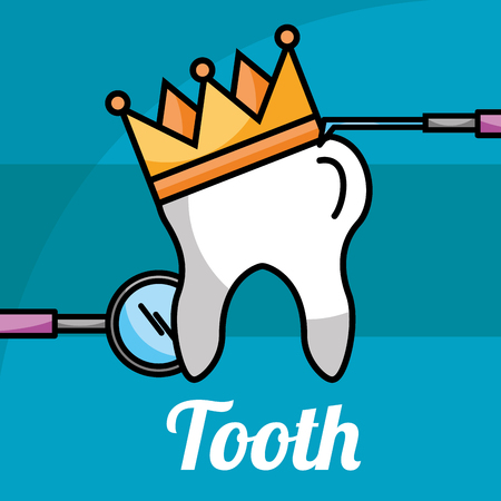 tooth in crown tools dental care vector illustration