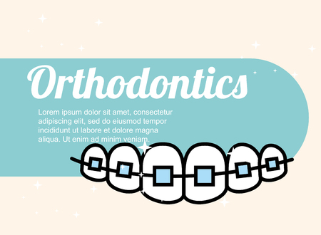 orthodontics dental care treatment banner vector illustration