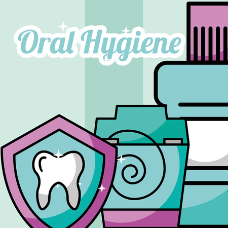 oral hygiene dental floss mouthwash protection vector illustration