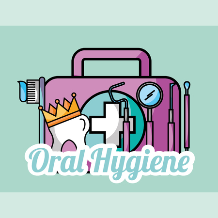 oral hygiene tooth crown kit brush tools dental vector illustration