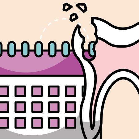 oral hygiene broken tooth and calendar vector illustration