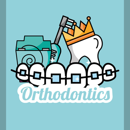 tooth crown orthodontics dental floss and electric brush vector illustration