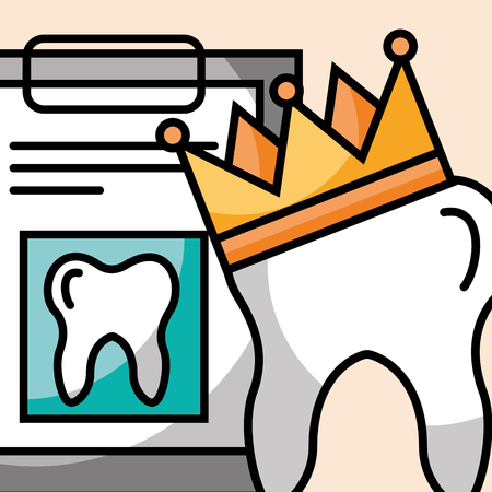 tooth crown and clipboard report dental care vector illustration