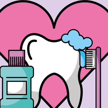 brusing tooth mouthwash love dentistry vector illustration