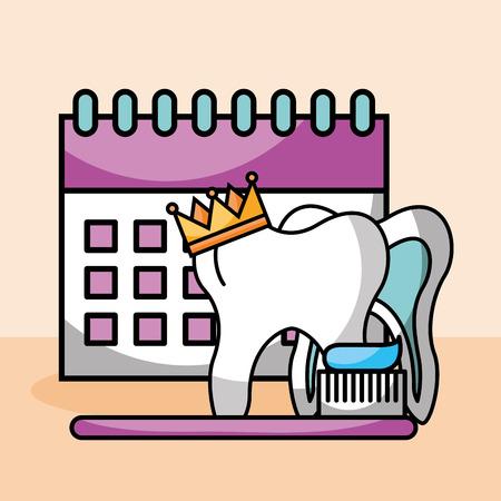 tooth crown brush paste calendar oral hygiene vector illustration