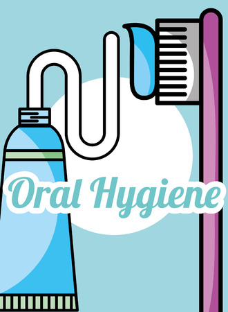 oral hygiene toothpaste and brush vector illustration