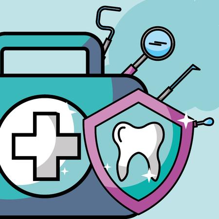 oral hygiene kit protection instrument dental vector illustration