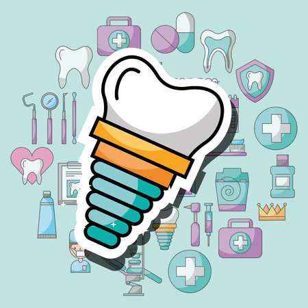 implant dental care and treatment vector illustration