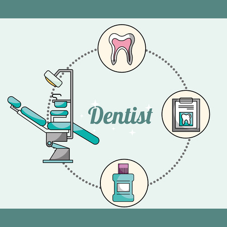 dentist equipment chair mouthwash medical report tooth vector illustration