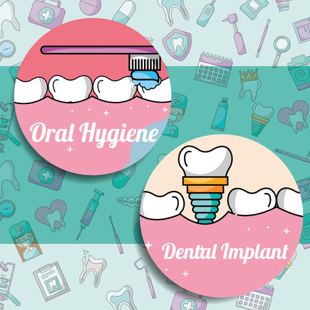 oral hygiene dental implant dentistry medical care vector illustration
