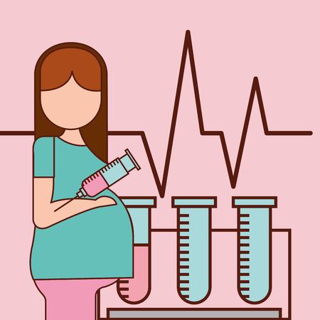 Ilustración de vector de línea de vida de prueba de sangre y tubos de fertilización de embarazo