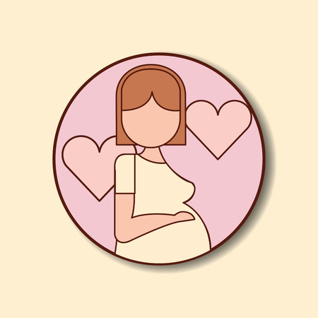 pregnancy fertilization stickers mother waiting baby hearts love vector illustration