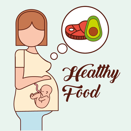 pregnancy fertilization healttly food good process avocado meat vector illustration