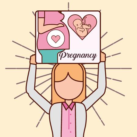 pregnancy fertilization doctor holding board with mother pregnant love life line vector illustration Illustration
