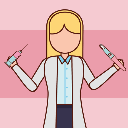 pregnancy fertilization doctor holding injection and pregnant test vector illustration