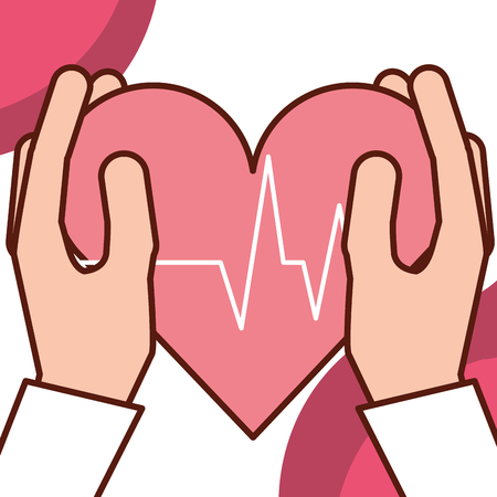 pregnancy fertilization hands holding heart life line vector illustration