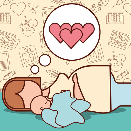 pregnancy fertilization mother thinking love his baby best born vector illustration
